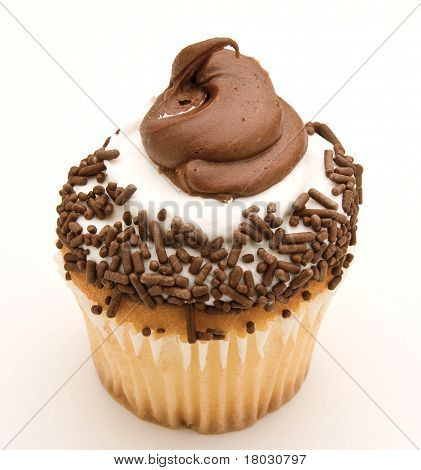 Yellow Cupcake With Chocolate And White Icing
