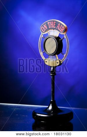 Photo Of Radio Microphone On Blue Background