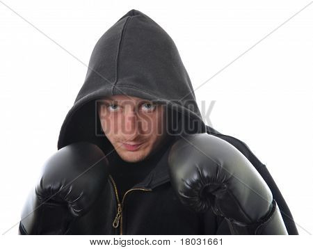 Young Boxer In Hood Isolated
