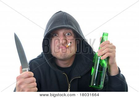 Bandit With Knife And Bottle Of Alcohol Isolated