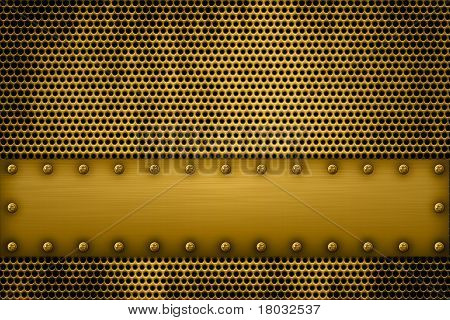 Gold Metal Plate On A Metal Grill