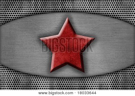 Metal Plate With The Red Star