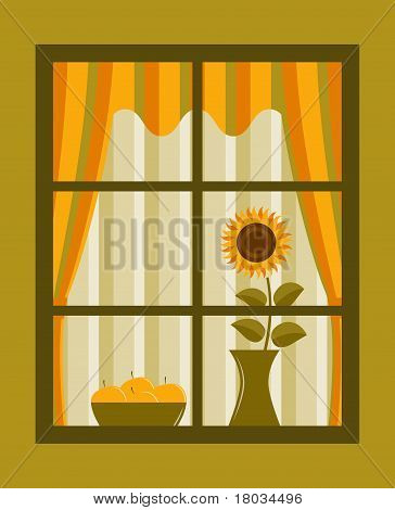 Sunflower And Apples Behind Window