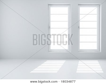 Two white windows and light from them in an empty room