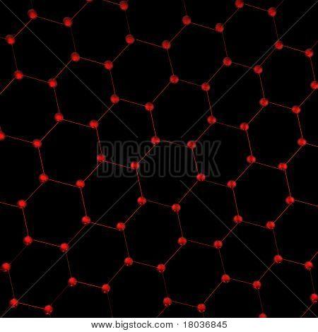 Hexagonal pattern of molecules