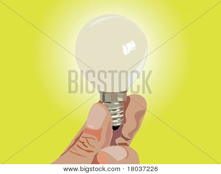 Hand With Lamp Vector Illustration