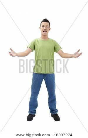 young man with arms open and welcome