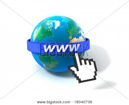 3d illustration of earth globe with internet address, over white background