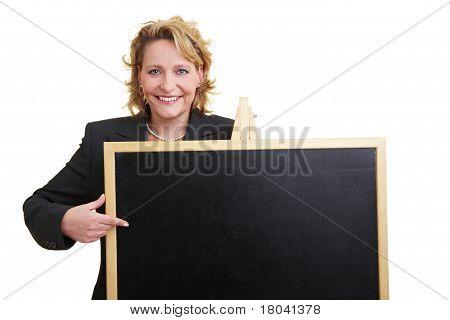 Teacher With Blackboard