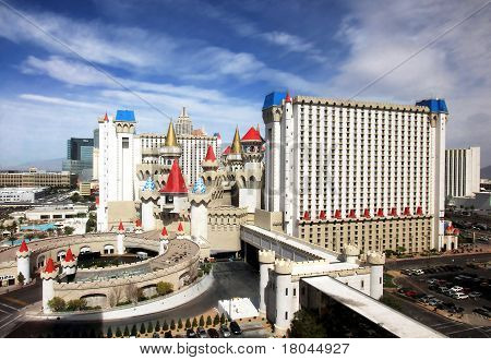 A sunny view of the Excalibur Hotel and Casino