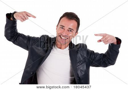Happy Man Pointing, Isolated On White. Studio Shot