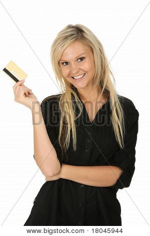 Happy Blonde Lady With Credit Card