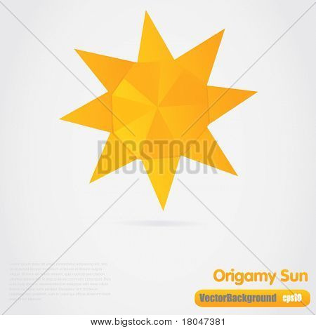 Vector illustration of paper origami sun