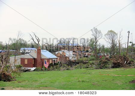 SAINT LOUIS, MISSOURI - APRIL 23: Damaged homes show tarp-covered roofs after tornadoes hit the Bridgeton area on Friday April 22, 2011 in Saint Louis, Missouri on April 23, 2011