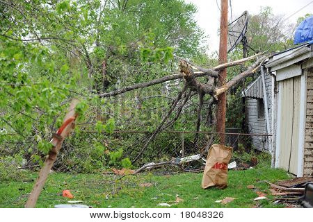 SAINT LOUIS, MISSOURI - APRIL 23: Damaged homes with tarp-covered roofs after tornadoes hit the Maryland Heights area on Friday April 22, 2011 in Saint Louis, Missouri  on April 23, 2011