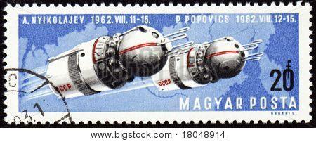 Soviet Spaceships Vostok-3 And Vostok-4 On Post Stamp