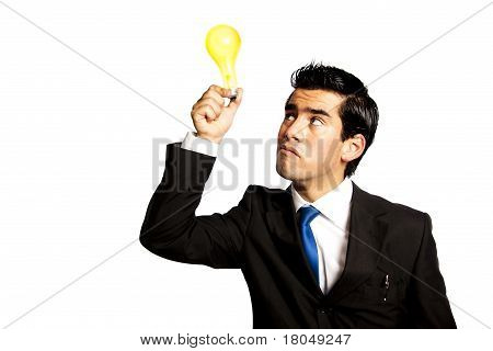 Young Business Man With Bright Bulb Idea