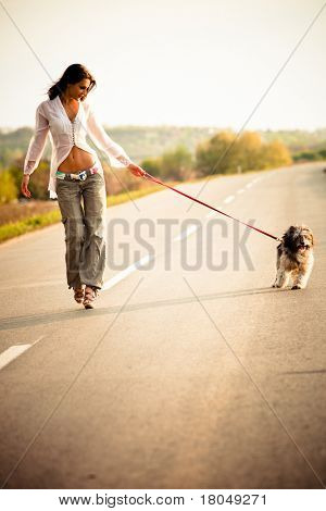 young woman walk with dog on the road, summer day sunset