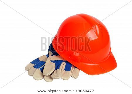 hard hat and work gloves