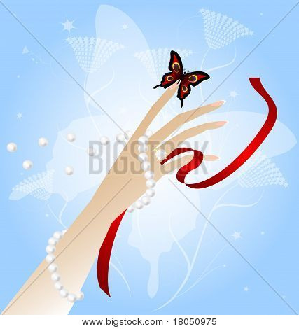 Woman's Hand And Butterfly