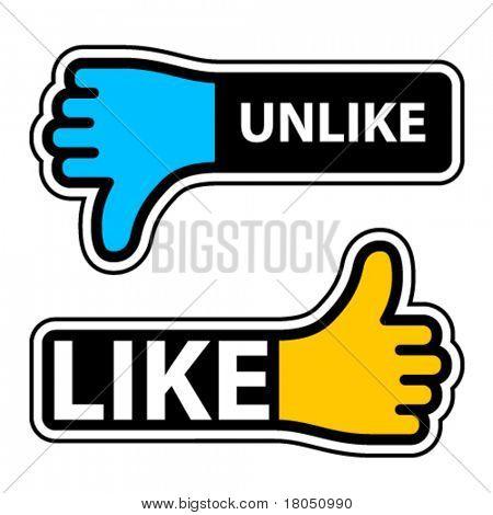 vector thumb like unlike labels