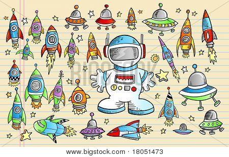 Caderno espaço foguete Doodle Sketch Vector conjunto de ilustração