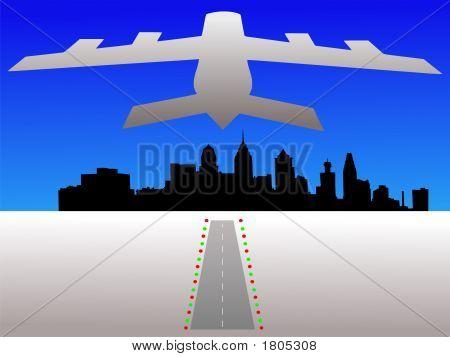 Plane And Philadelphia Skyline