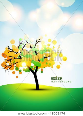 vector tree on stylish background