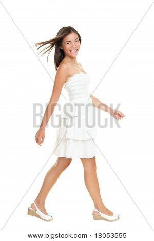 Woman Walking In Summer Dress