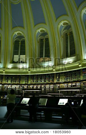 Dome ceiling of a library in the night