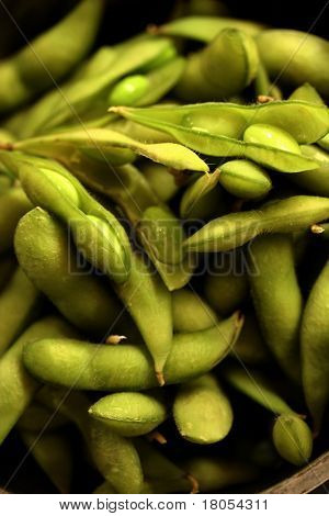Close up of Japanese Adame beans ( Soya bean ) in a metal colander