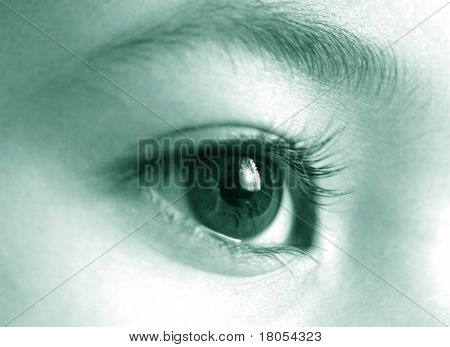Big, blue and clear vision - Close up of an eye in blue tint