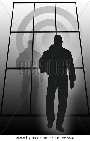 Conceptual image of a man walking casually towards his goal