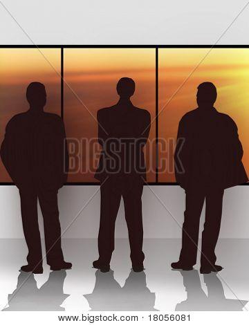 Ilustración conceptual de tres empresarios mirando por la ventana, imaginando el futuro.