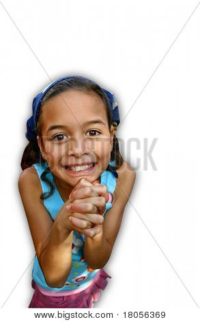 Oh please please please, may I please. A little girl pleading with both hand clasps together.