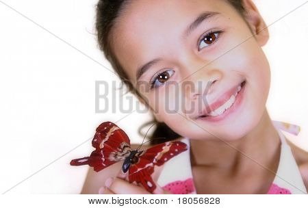 A young girl sharing the beauty of a red butterfly on her finger, on white background with copyspace.