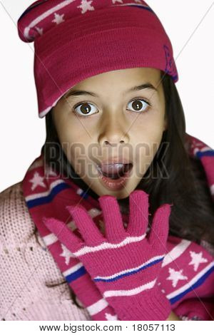 A young girl expressing shock , wide eyed, mouth wide open with a hand almost covering up the mouth.