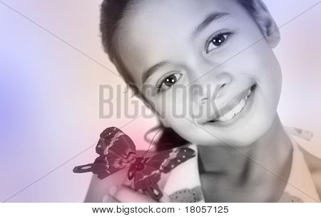 A  girl sharing the beauty of a red butterfly on her finger, on white background with copyspace.