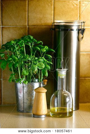 A counter top kitchen arrangement of a pot of basil, spaghetti tube, pepper mill and a bottle of olive oil.