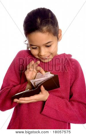 A girl counting some cash in a brown wallet.