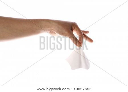 Feminine hands holding the end of tissue, isolated. ( Tissue can be easily replaced by other item )