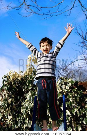 A young boy showing thrill and excitement at the top of the garden slide.