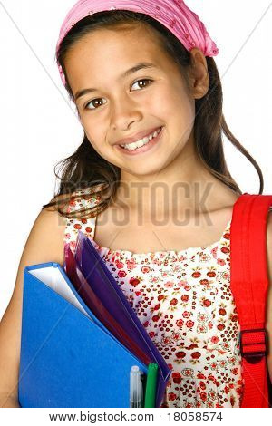 Young girl in pink bandanna with red rucksack and  stack of folders and blue file