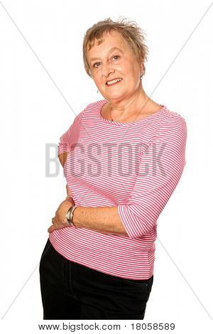 Beautiful mature caucasian woman in casual stripy pink top , isolated on white.
