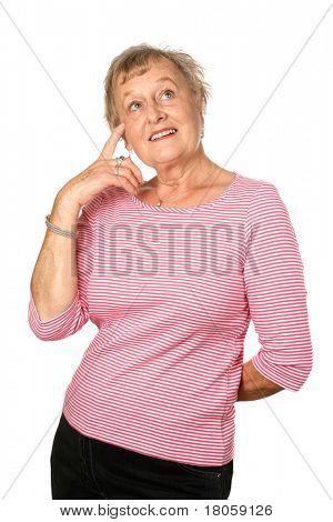 Senior feminino, apontando para a testa no gesto de pensar ou aplicação de senso comum, isolado na