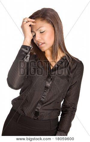 Empresaria asiática sufre un dolor de cabeza o síntomas de malestar y afectó, aislado.