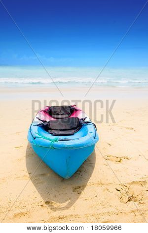 Blue and red canoe by a sandy beach with beautiful blue sky lining the vast clear ocean.
