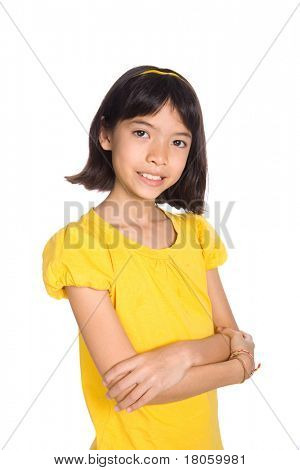 Beautiful girl of Chinese and European mix parentage, smiling, isolated on white