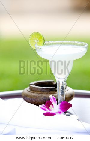 Glass of lime margarita with salt on rim and slice of lime for garnishing.
