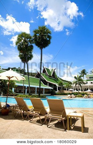 Beautiful swimming pool lined with palm trees and sun loungers.
